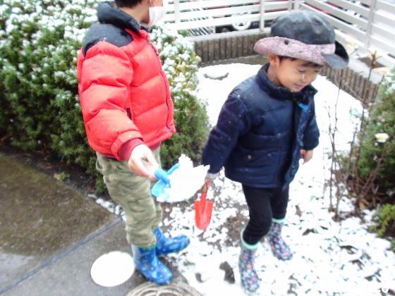 子どもが雪あそびをしている写真