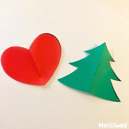 ハートと木の形になった折り紙