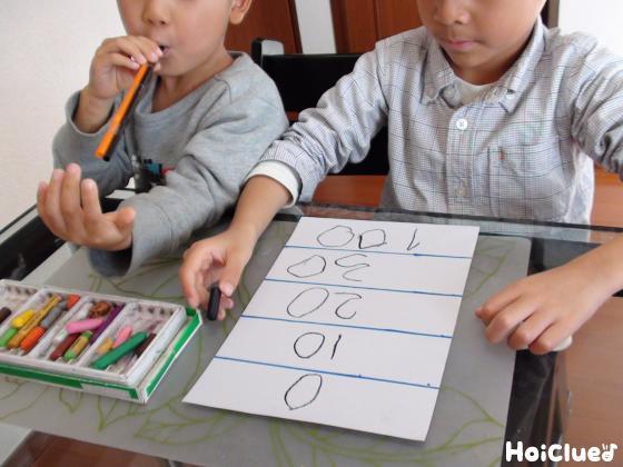 点数などを描く子どもたちの様子