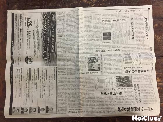 新聞紙を半分に折った写真