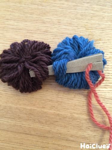 二つの毛糸の束をさしこんだ写真