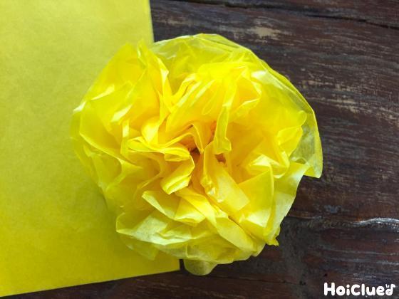 花紙を開いてお花にした写真