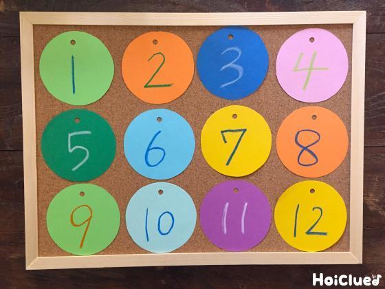 画用紙に1から12の数字を描いた写真