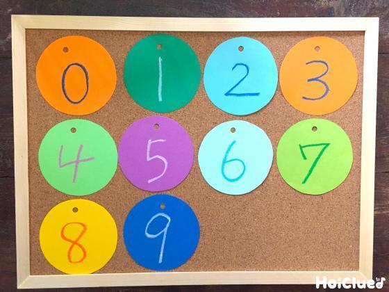 画用紙に0から9の数字を描いた写真