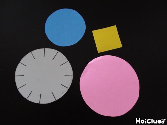 丸く切った厚紙と色画用紙
