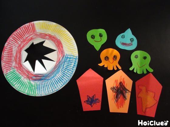 色画用紙で作った宇宙人と宇宙船