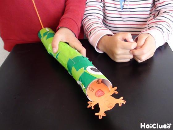 トイレットペーパの芯の中へ紐のついたカエルを引っ張り入れる様子