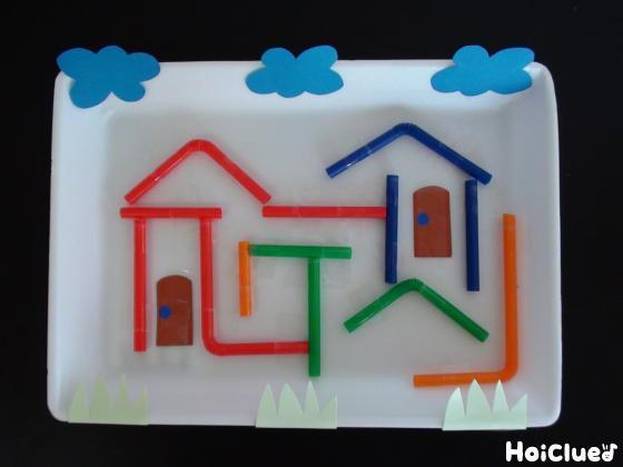 ドアや雲を色画用紙で追加した写真
