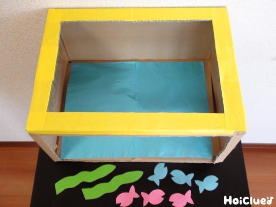 色画用紙を貼ったダンボールと、画用紙で作った海藻と魚の写真