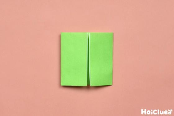 真ん中の折り目に合わせて両サイドを折った折り紙