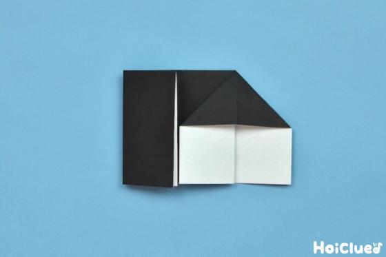 右側の袋部分をつぶすように三角形に折った写真