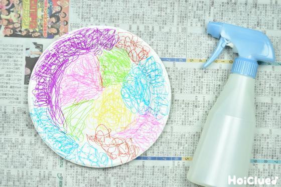 紙皿に霧吹きで水をかける