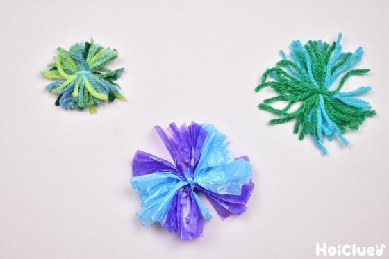 数色混ぜて作った毛糸とスズランテープの花火