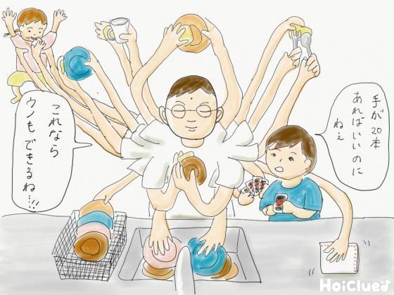 大人にたくさんの手が生えてきて素早く皿洗いをする様子