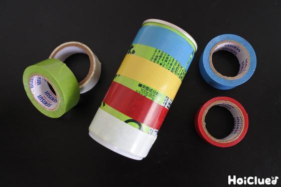缶にビニールテープを巻いた写真