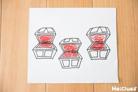 赤い水性ペンで塗った宝箱