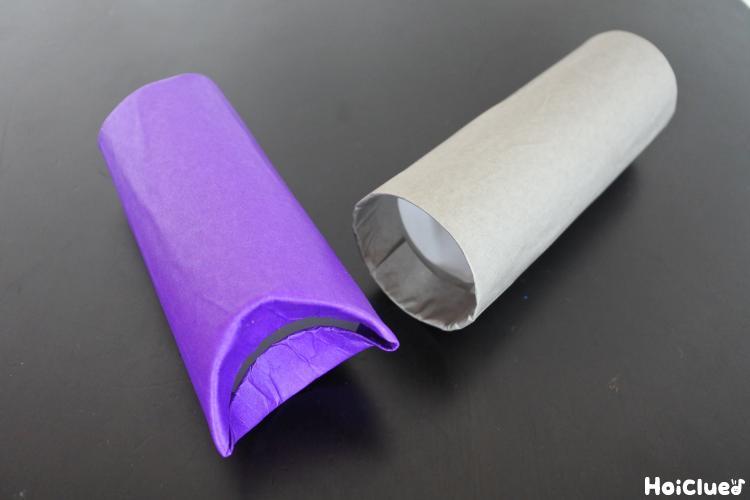 トイレットペーパーの芯に折り紙を巻いた写真