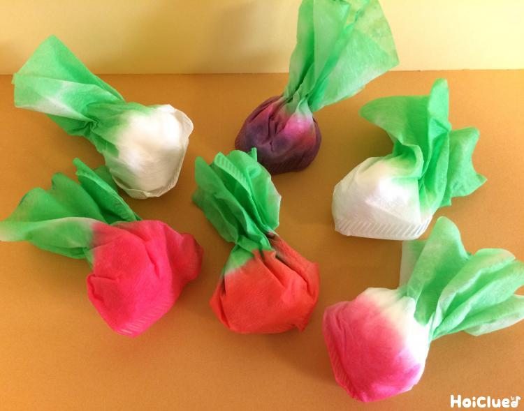 色染めで作るちいさなかぶ〜和菓子の包み紙のような、きれいでかわいい染め紙遊び〜