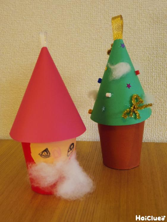 紙コップdeクリスマス小物入れ〜三角帽子のサンタさんとクリスマスツリーの製作遊び〜