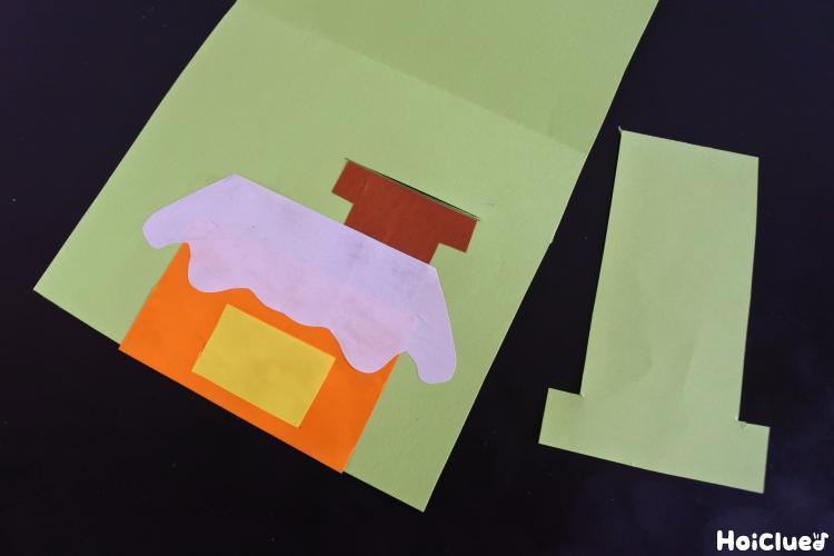 お家と煙突の絵を描いた様子