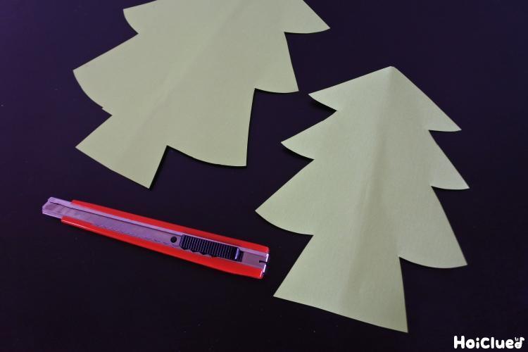 木の形に切り抜いた写真