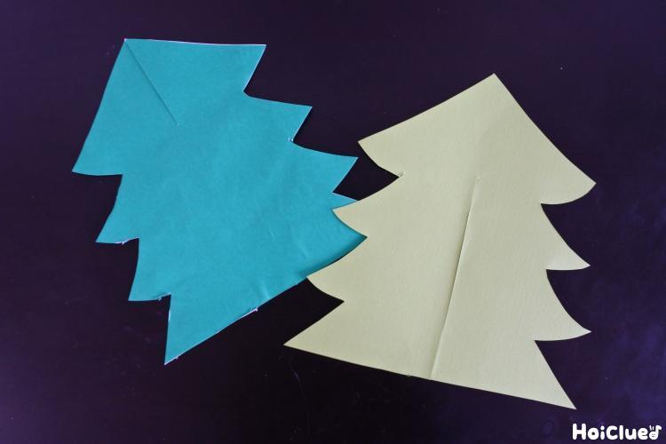 画用紙を木の形に切り取った写真