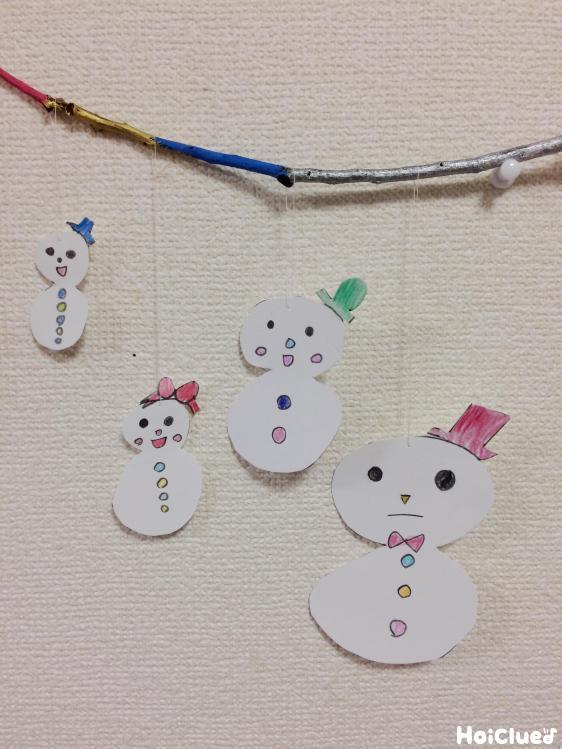 枝に雪だるまを吊るし壁に飾った写真