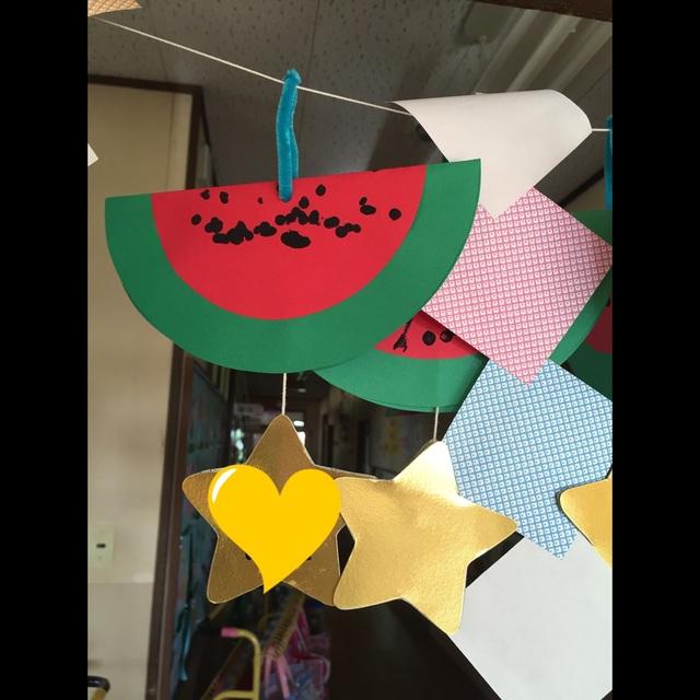 【アプリ投稿】1歳児 夏の作品 七夕の笹飾り