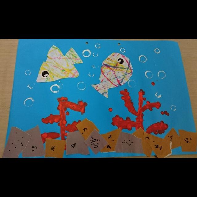 【アプリ投稿】作品展の製作(0、1歳児)テーマは海