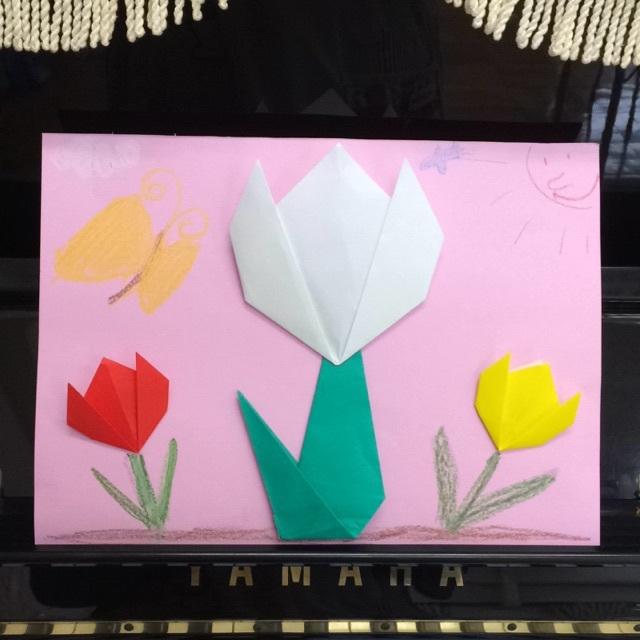 【アプリ投稿】年中 折り紙 チューリップ