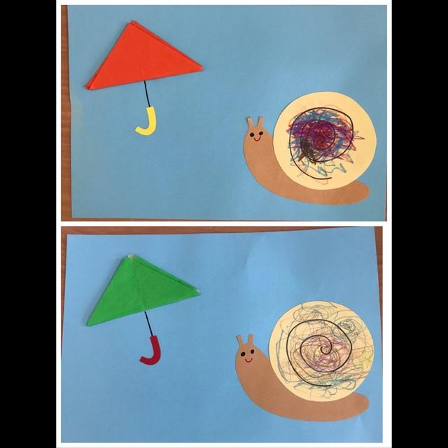 【アプリ投稿】折り紙の傘とカタツムリ