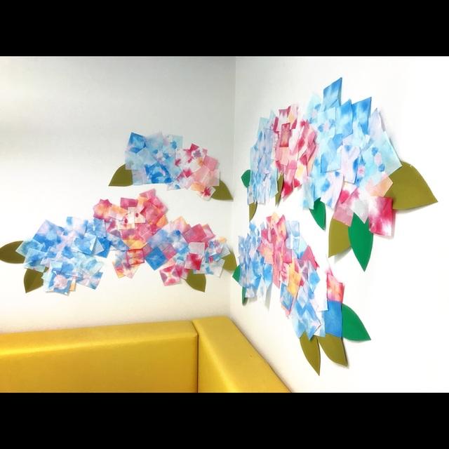 【アプリ投稿】『季節の壁面:紫陽花(紙の色染め)』