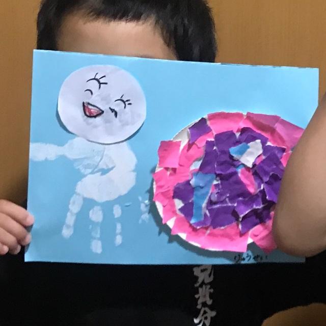 【アプリ投稿】手形のてるてる坊主とちぎり絵アジサイ