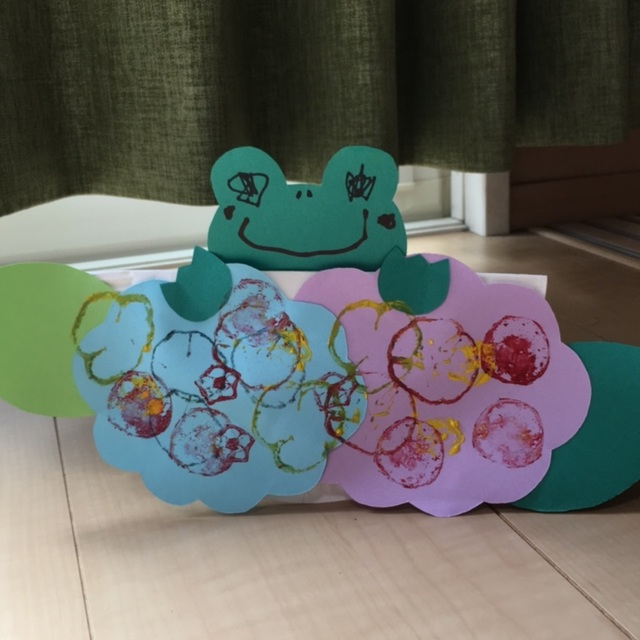 【アプリ投稿】アジサイ&カエル野菜スタンプ(オクラ・ピーマン・キュウリ)
