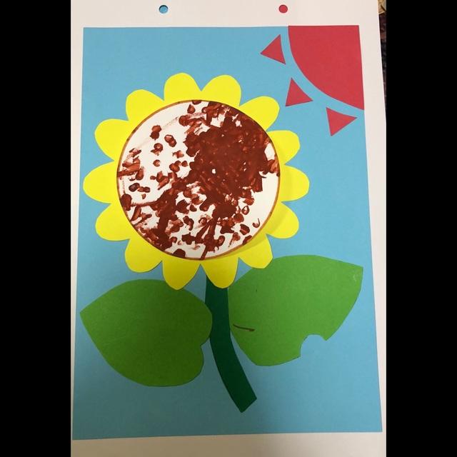 【アプリ投稿】【ひまわり】 1歳児•綿棒で点描