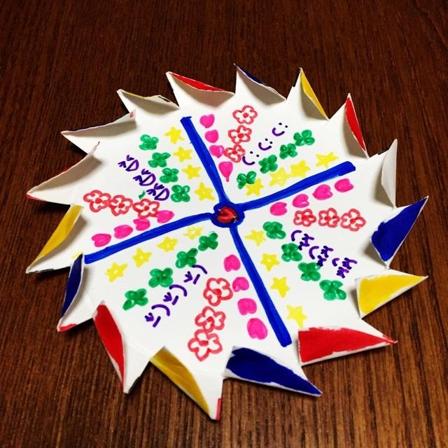 【アプリ投稿】紙皿でフーフー吹くコマ☆