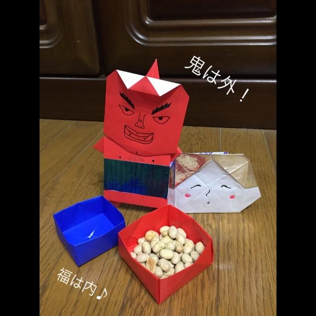 【アプリ投稿】折り紙で節分小物