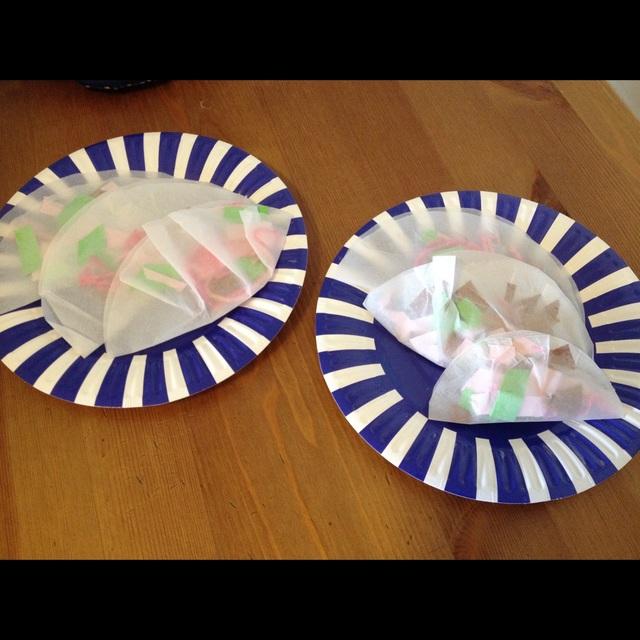 【アプリ投稿】餃子写し紙の皮に、毛糸や折り紙で作った餡を包みました。けっこうリアルにできて 好評。