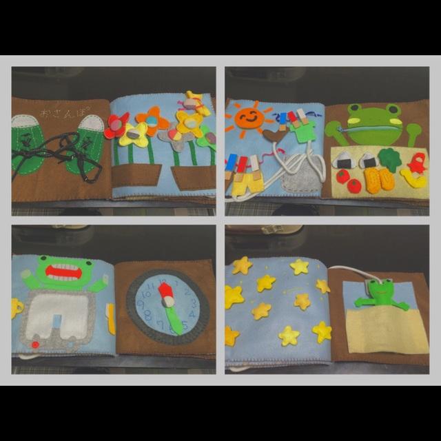 【アプリ投稿】❁布絵本❁子供が自ら興味を持ち成長をする絵本!紐を結ぶ練習ボタンの付け外しの練習物をはさむ練習スナップの練習マジックテープの練習時計の練習など使い方は様々です。すべて100均で買い、手縫いで作りました!