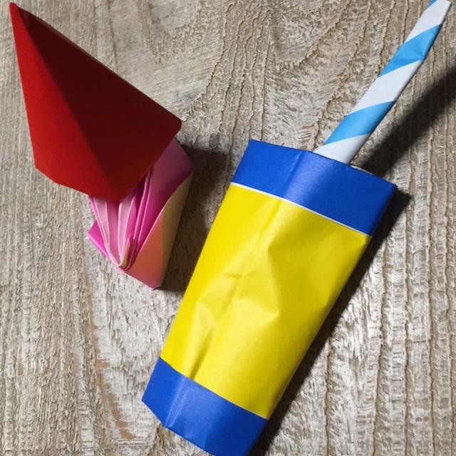 【アプリ投稿】《折り紙のショートケーキとジュース♪ストロー付き》