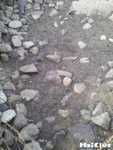 色々な石が落ちている地面の写真