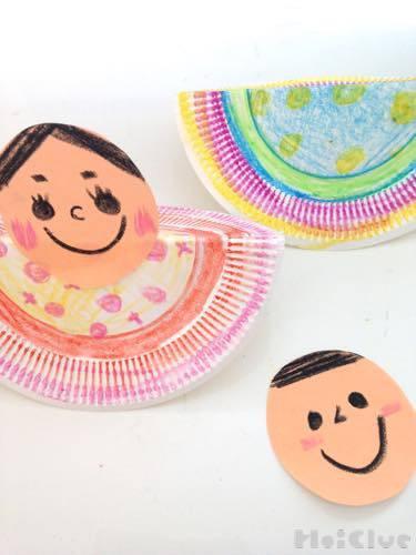 紙皿に飾りを描いた写真