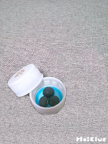 ペットボトルキャップの中に豆を3個入れた写真