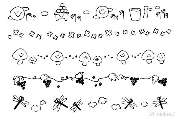 9月のイラスト(おたよりラインカット・ライン挿し絵)