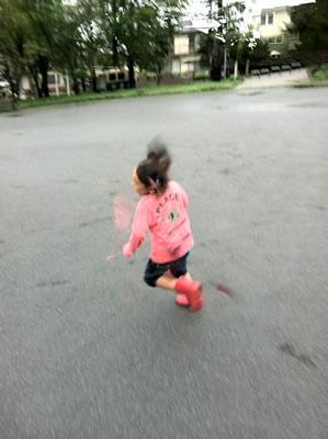 走る子どもの写真