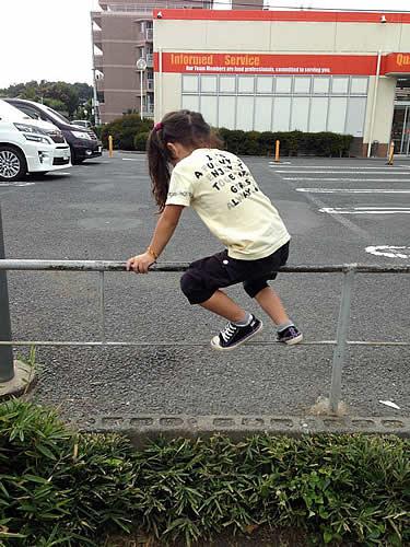 柵によじ登る女の子の写真