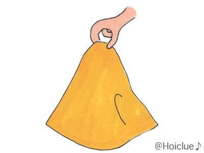 タオルをつまんでいるイラスト