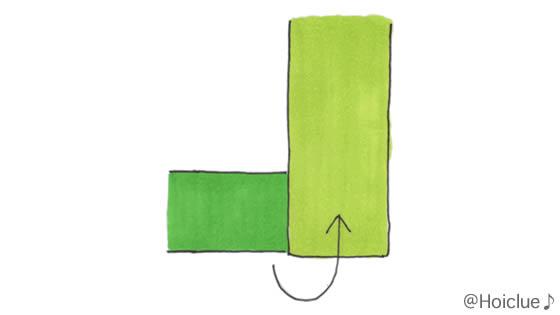 重ねた画用紙をさらに重ねて折ったイラスト