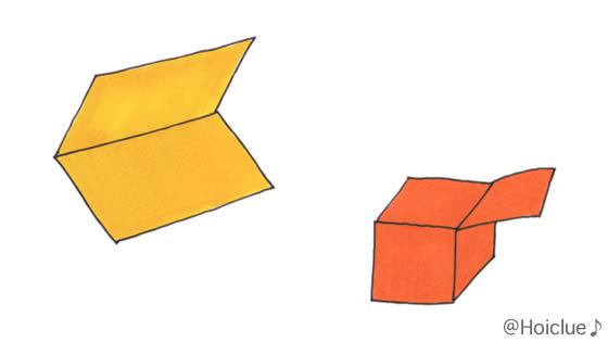 画用紙をいろんな形に折ったイラスト