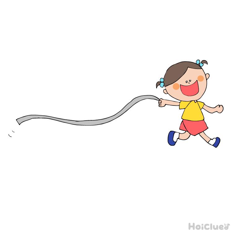紐状にした新聞紙を手に持ち走る女の子のイラスト